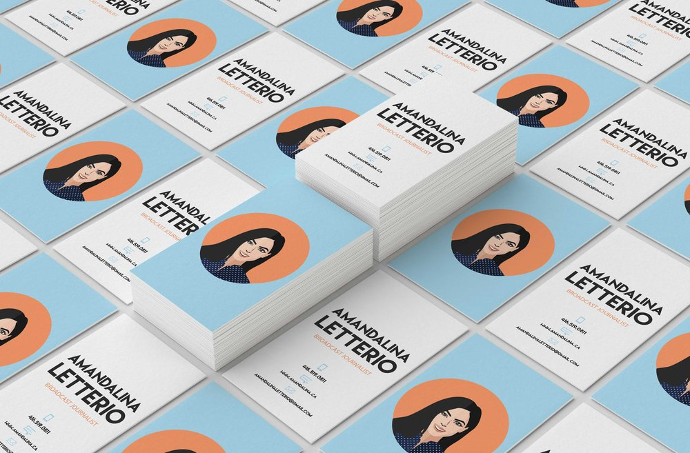 Amandalina Letterio - Broadcast Journalist  Chariciature, branding and stationary design    Year   2017