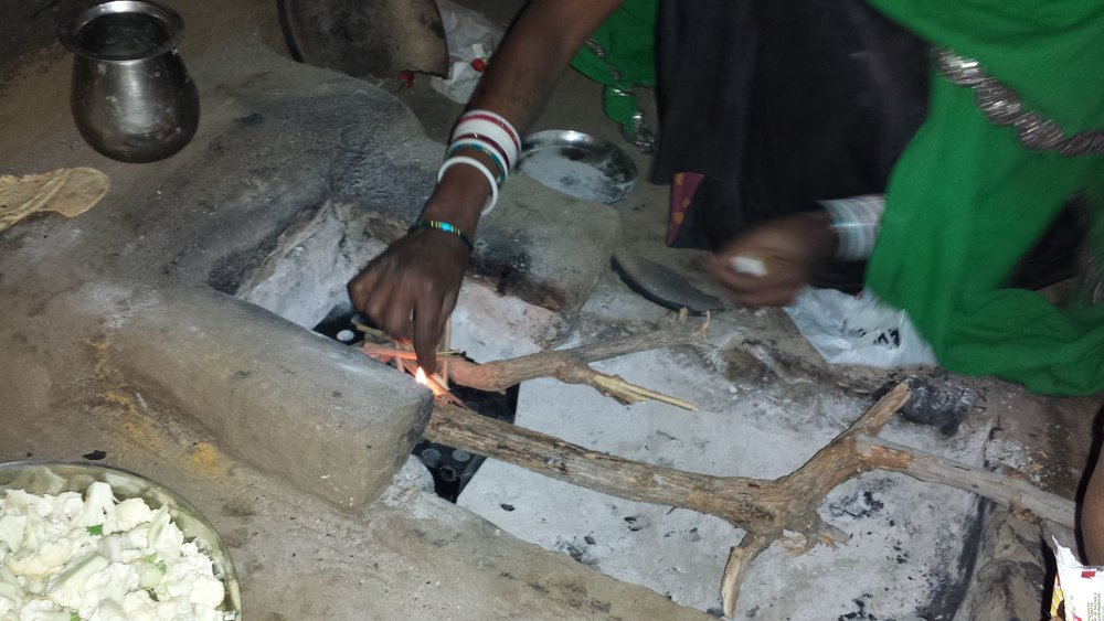 Starting the fire is easy with the Mewar Angithi in place...