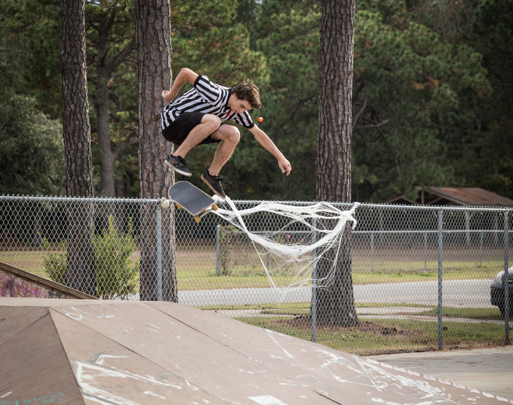 Hardflip over the spider webs.