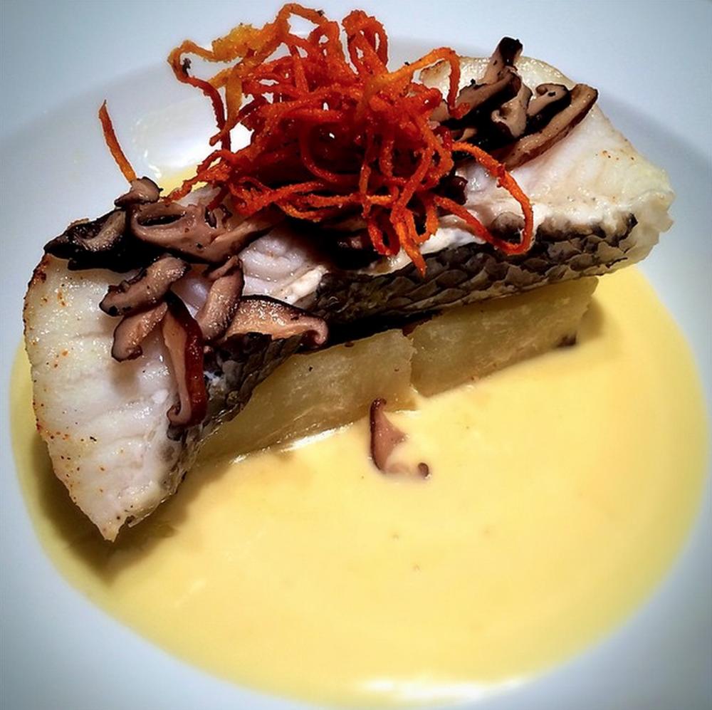 chilean sea bass, shiitake mushroom, sweet potato fries, garlic cream sauce