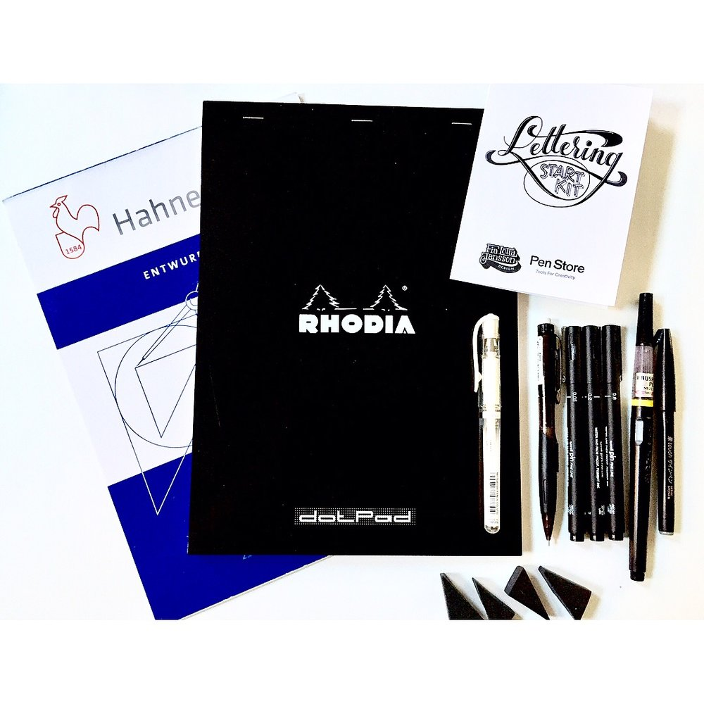 Lettering Start-Kit - (sold out)I am often asked what pens and paper I use when lettering. Together with Penstore I have put together a Lettering Start-Kit with the best tools and papers for you to use when you want to start with lettering or when you want to update your tool kit. Click on over to www.penstore.se (for delivery within Sweden), www.penstore.dk (Denmark) or www.penstore.com (international) to get more information or buy a kit for yourself or as a gift for a friend! Happy lettering!