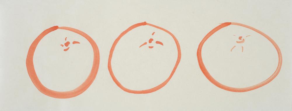 "ensō | grapefruit (01), 2015 | watercolor on Okawara paper | 5.5"" x 14"" | Private Collection, Harlem, NY"