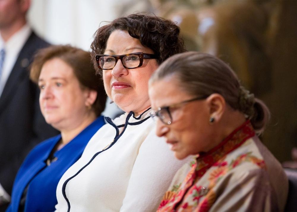 Supreme Court Justices Elena Kagan, Sonia Sotomayor, and Ruth Bader Ginsburg.