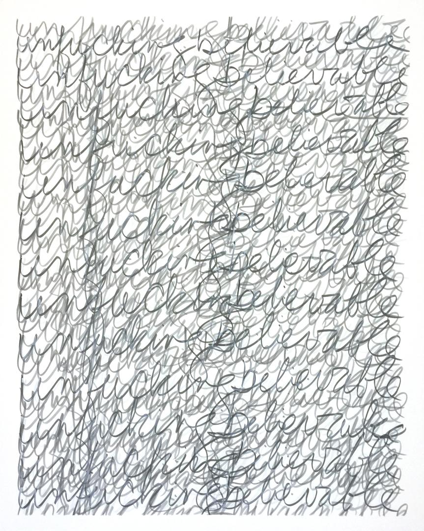 "unfuckingbelievable, 2017 | ink on panel | 30"" x 24"""