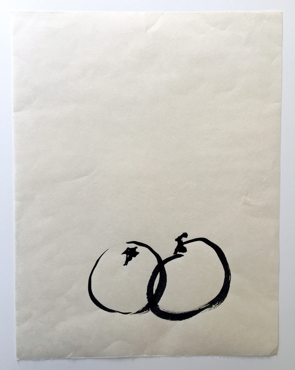 "ensō | apple (09), 2015 | ink on Okawara paper | 12"" x 9.25"""