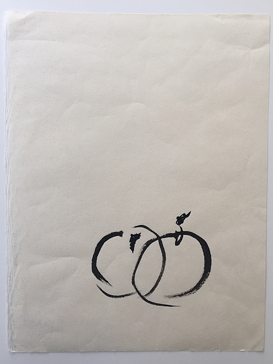 "ensō | apple (10), 2015 | ink on Okawara paper | 12"" x 9.25"""