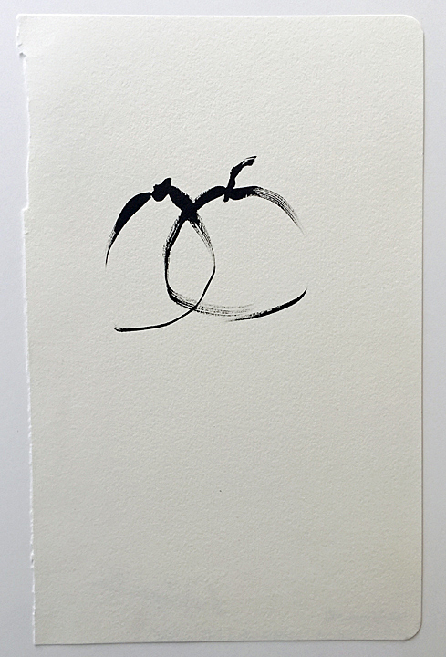 "ensō | apple (13), 2015 | ink on paper | 8.25"" x 5.25"""