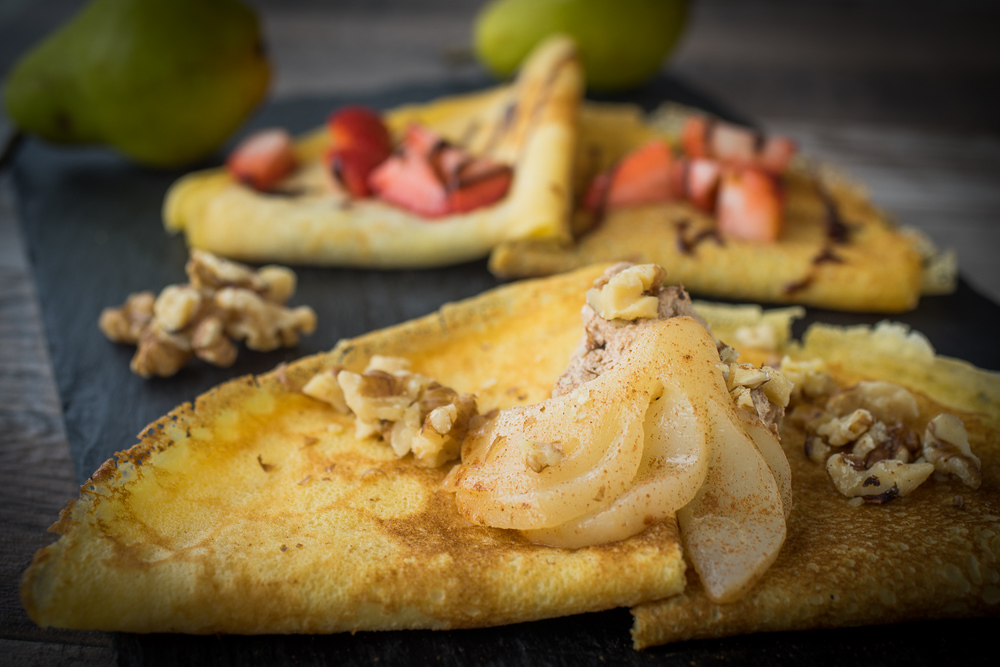 Walnut Pear Crepes