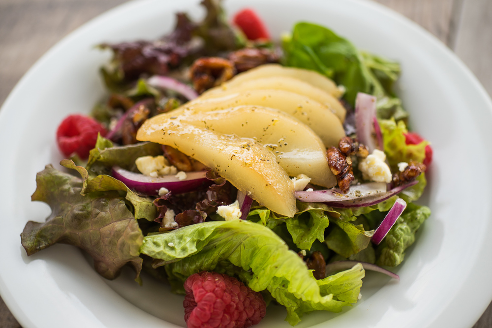 Our signature raspberry pear salad
