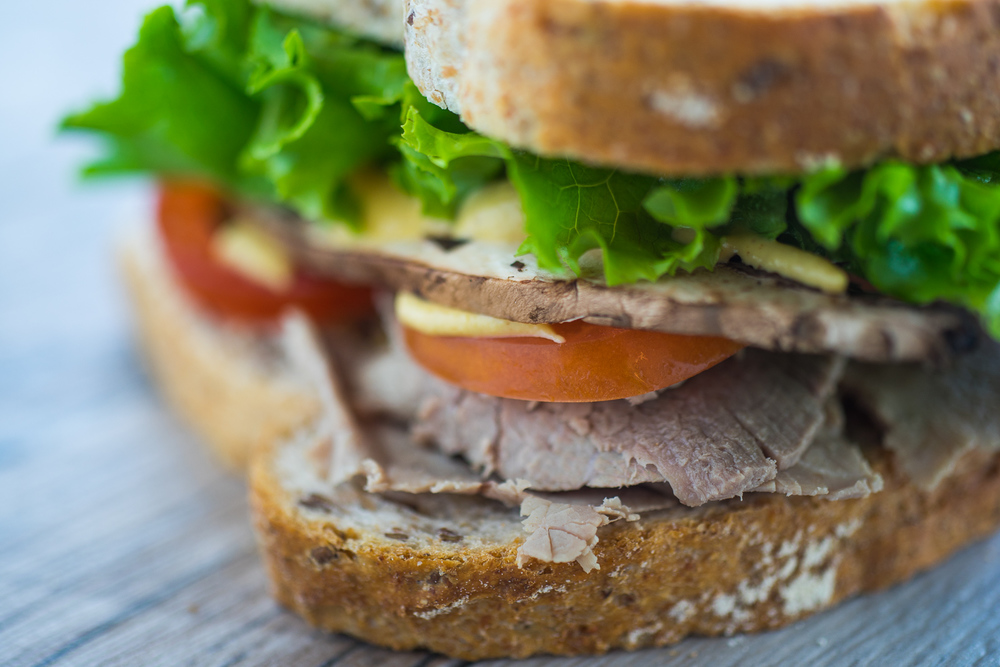 Our scrumptious portobello mushroom and roasted beef sandwhich.