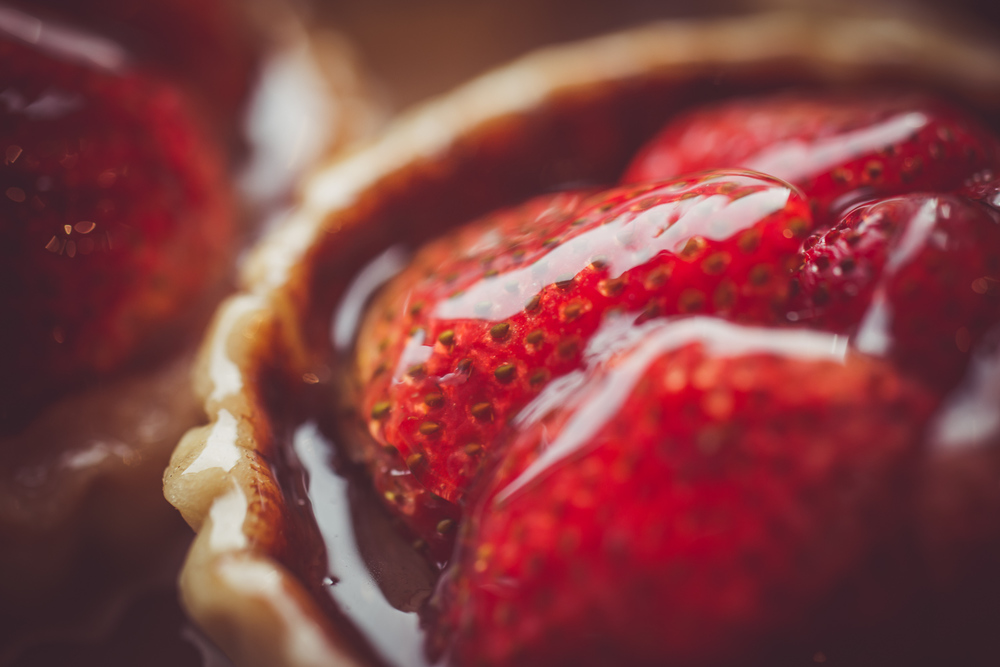 Strawberry Tart Lined With Chocolate Ganache