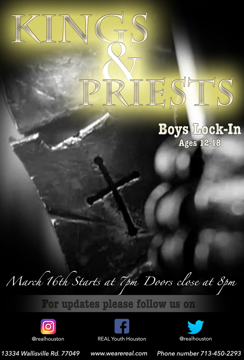 Theme:  Kings & Priests   Date:  March 16th 2018   Who:  All Middle School and High School boys   Time:  7pm- 7am (Doors lock at 8pm so don't be late)   Where:  FLC Building   Attire:  Regular clothes   Price:  Absolutely Free so invite every boy you know   Food:  There's no party without it!