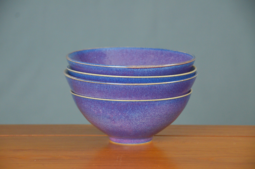 Porcelain Purple Japanese Bowl Set | Hand thrown porcelain on a potter's wheel.  High Fired, Cone 10, Lipstick Purple Glaze, Hand Trimmed, Ceramic | Caldwell Pottery