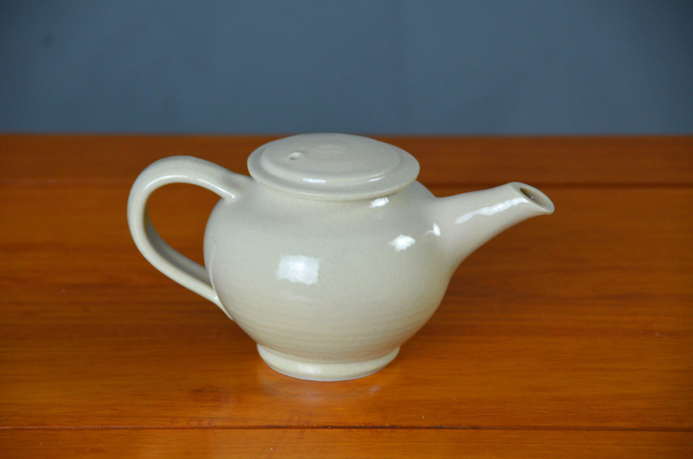 Porcelain White Japanese Teapot | Hand thrown porcelain on a potter's wheel.  High Fired, Cone 10, Decorative White Glaze, Hand Trimmed, Ceramic | Caldwell Pottery