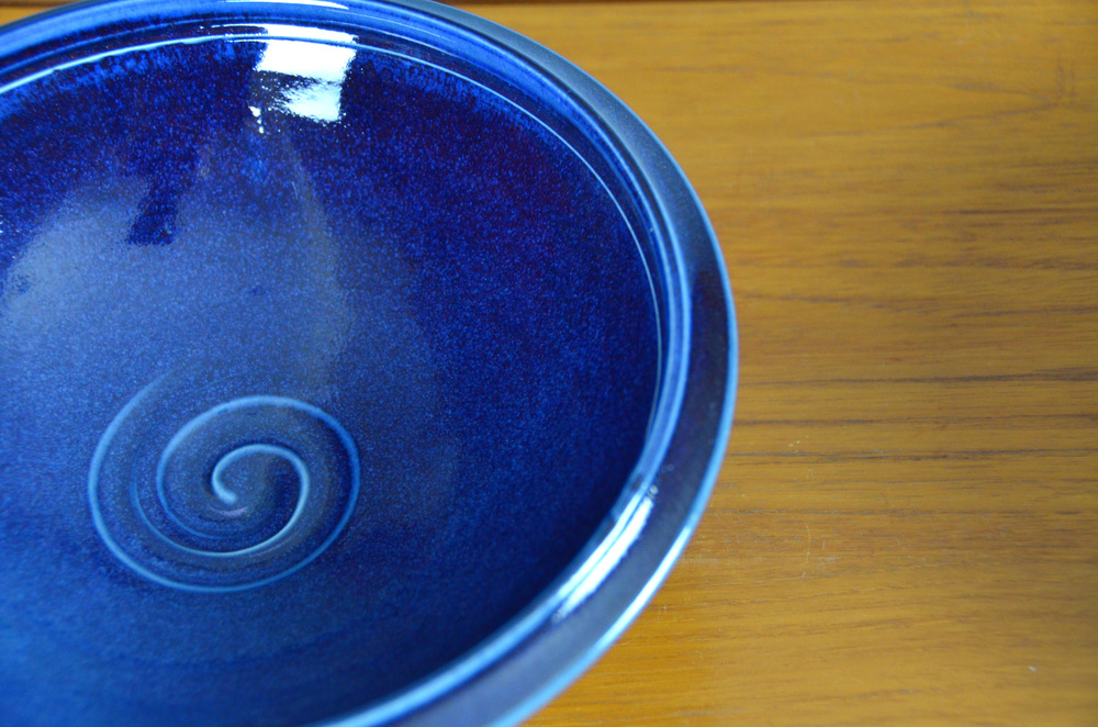 Porcelain Blue Japanese Bowl Set | Hand thrown porcelain on a potter's wheel.  High Fired, Cone 10, Flambe Blue Glaze, Hand Trimmed, Ceramic | Caldwell Pottery