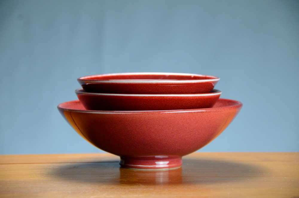 Porcelain Red Japanese Bowl Set | Hand thrown porcelain on a potter's wheel.  High Fired, Cone 10, Tom Coleman's Vegas Red Glaze, Hand Trimmed, Ceramic | Caldwell Pottery
