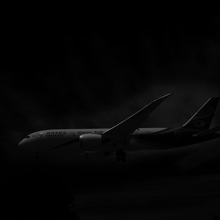 THe Laird Co Hainan Airlines black and white 787 profile aviation avgeek photography for site.jpg