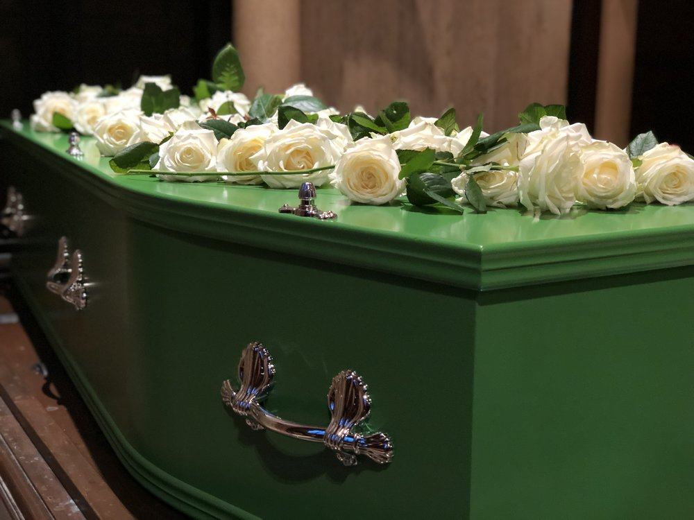 A bespoke coffin made by craftsmen in Derbyshire, painted in Dulux 'Enchanted Eden' green