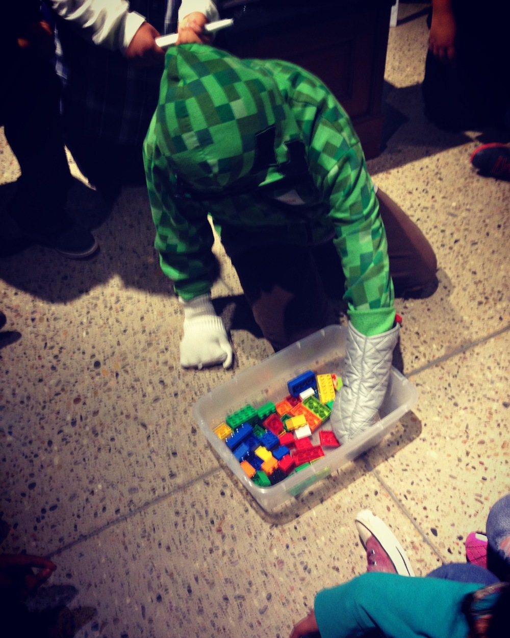 It's hard to build legos with oven mitts on! This activity is to teach the importance of having the right tool for the job.