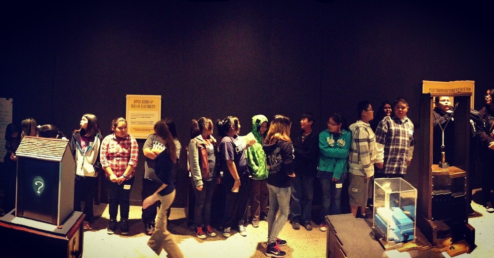 Lybrook students line up by height to learn about ratios and the exponential relationships in the metric system