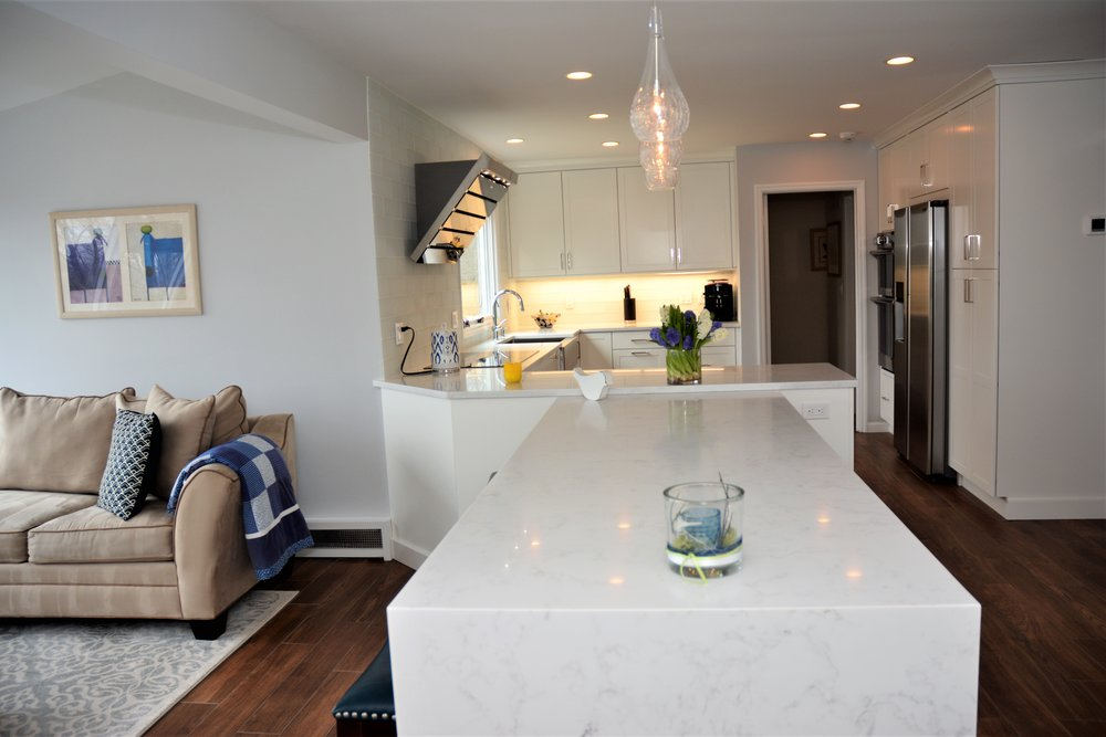 Waterfall counter in White Contemporary Kitchen