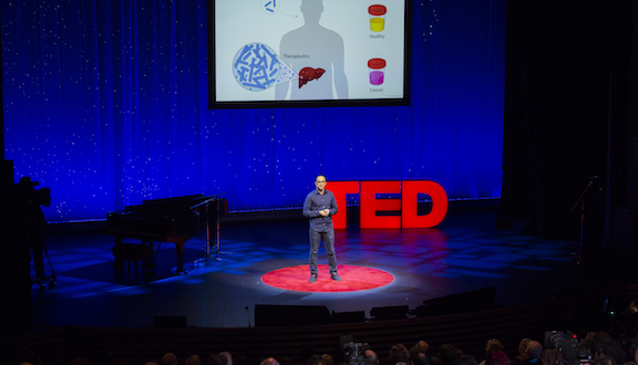 """What if we could create a probiotic, edible bacteria that was """"programmed"""" to find liver tumors? Tal Danino's insight exploits something we're just beginning to understand about bacteria: their power of quorum sensing, or doing something together once they reach critical mass. Danino, a TED Fellow, explains how quorum sensing works — and how clever bacteria working together could someday change cancer treatment."""