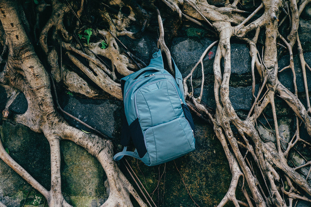 pacsafe travel backpack traveling woods hiking blue