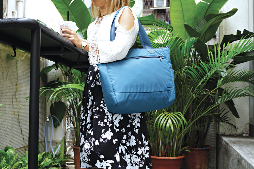pacsafe tote blue travel everyday use