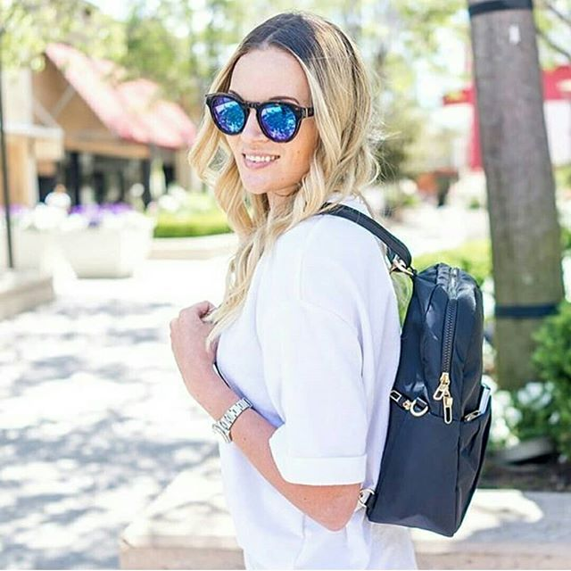 We love this Pacsafe Convertible Backpack worn by @stylebylolly Come check it out in store😎 @pacsafeofficial #travelbackpack #stanfordshoppingcenter #traveltheworld #lovegoinginstyle