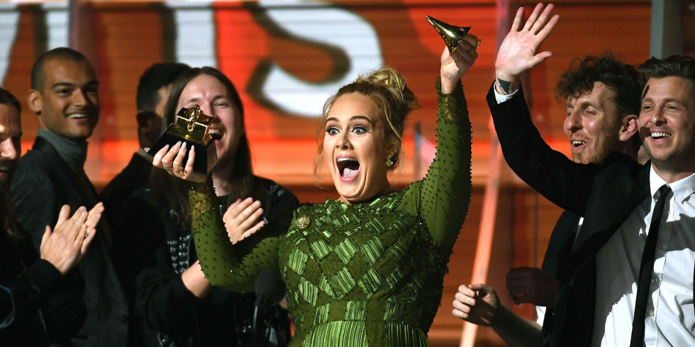 Adele breaking her Album of the Year Grammy in HALF to give to Queen B!
