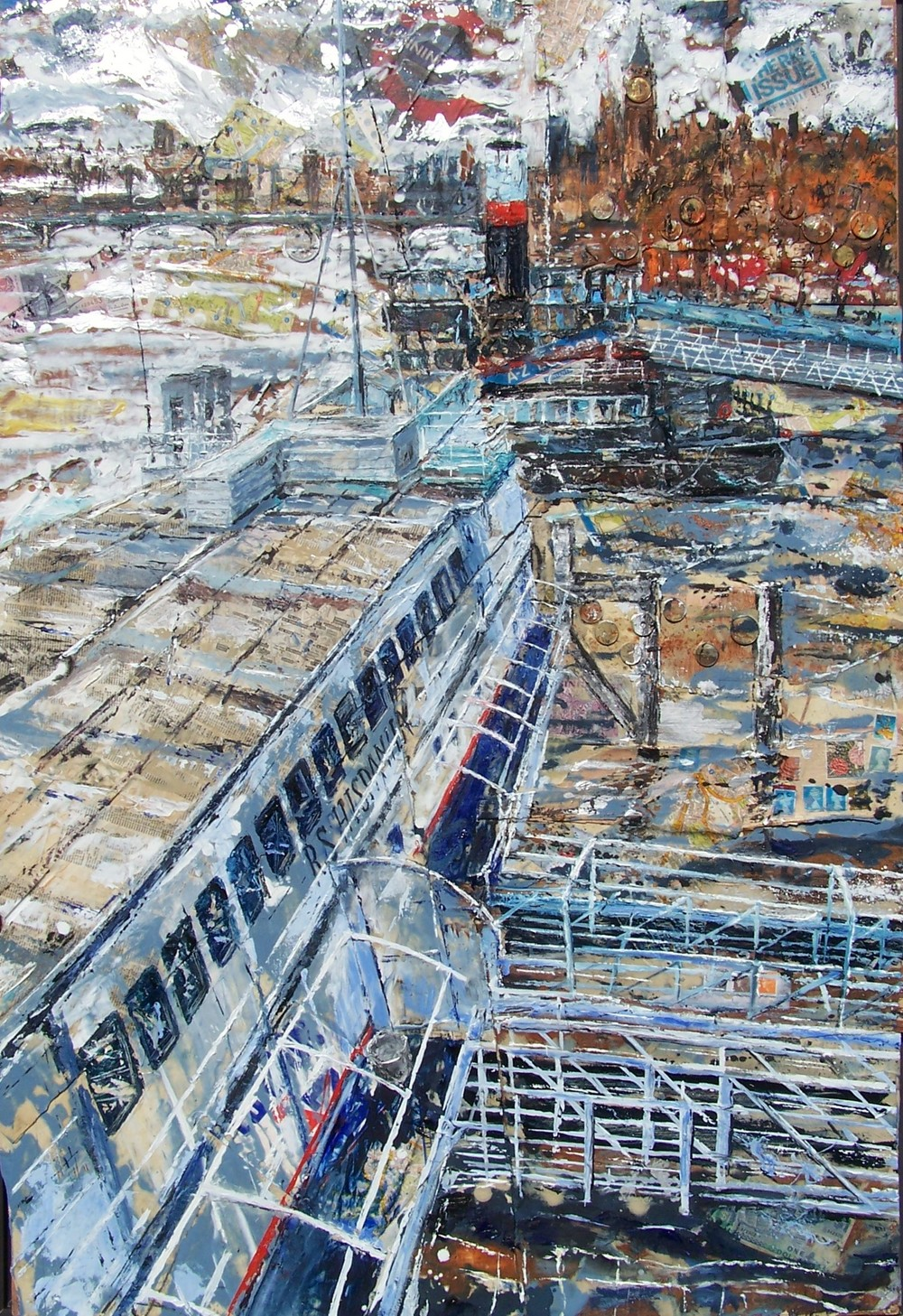 R.S Hispaniola, Thames, Oil paint and collage on wood