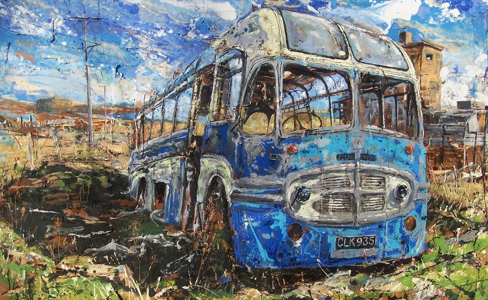 Hoy Bus, Orkney, Oil and collage on wood
