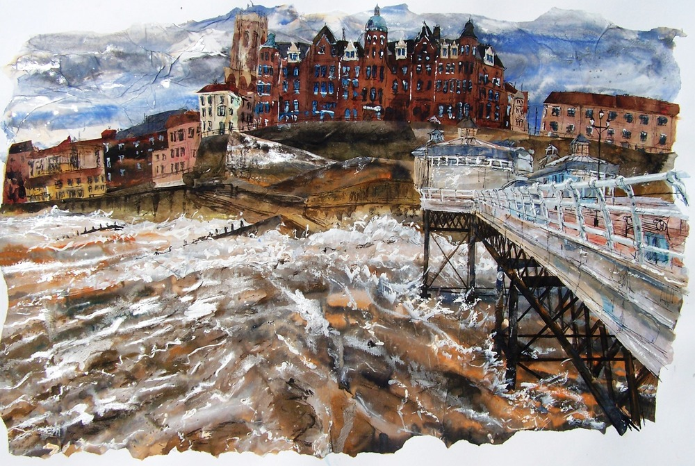 Cromer Pier 4, acrylic, ink and collage.