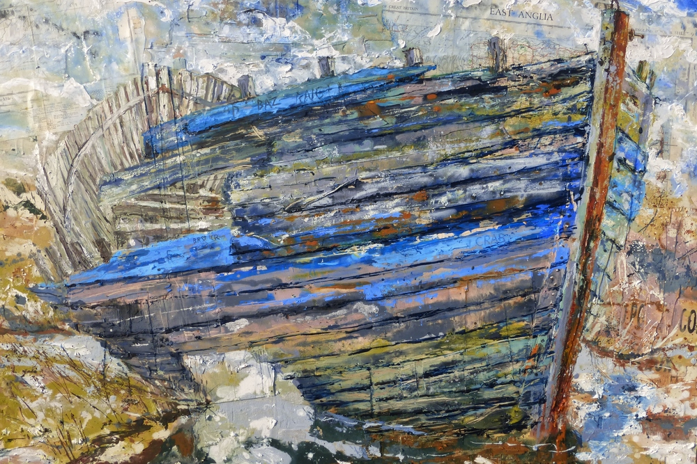 Abandoned Clinker Hull, Blakney, Norfolk, Acrylic, oil, collage on wood