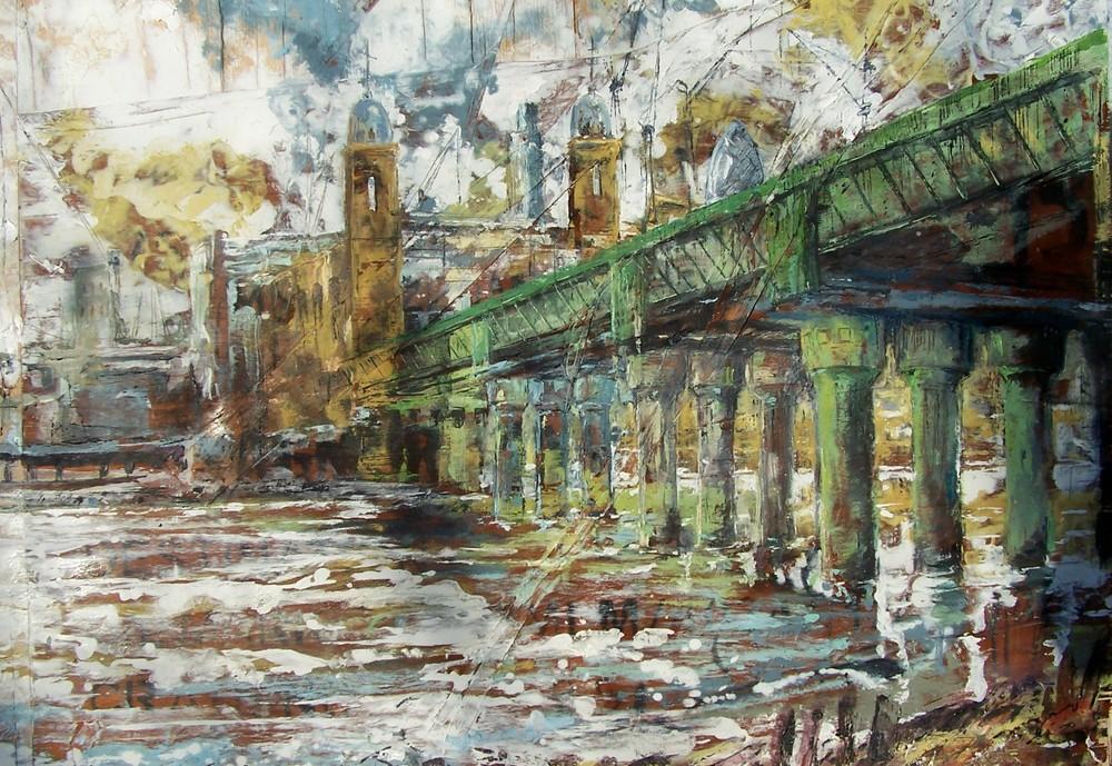 Canon St Bridge, Thames, London, Oil on wood