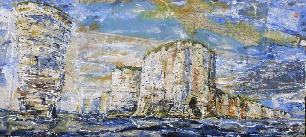 The Foreland to the Pinnacles and Studland Bay. Oil, Acrylic, photo-silkscreen and collage on wood.