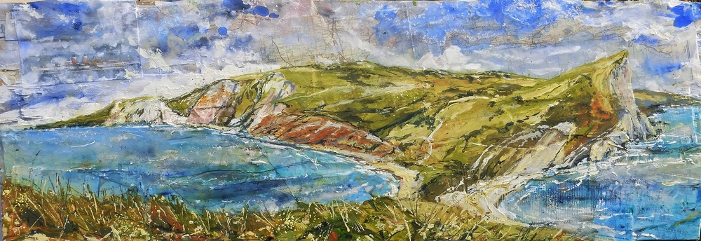 Worbarrow Bay to Brandy Bay, Purbeck Coast, Dorset. Oil, acrylic, collage on wood.