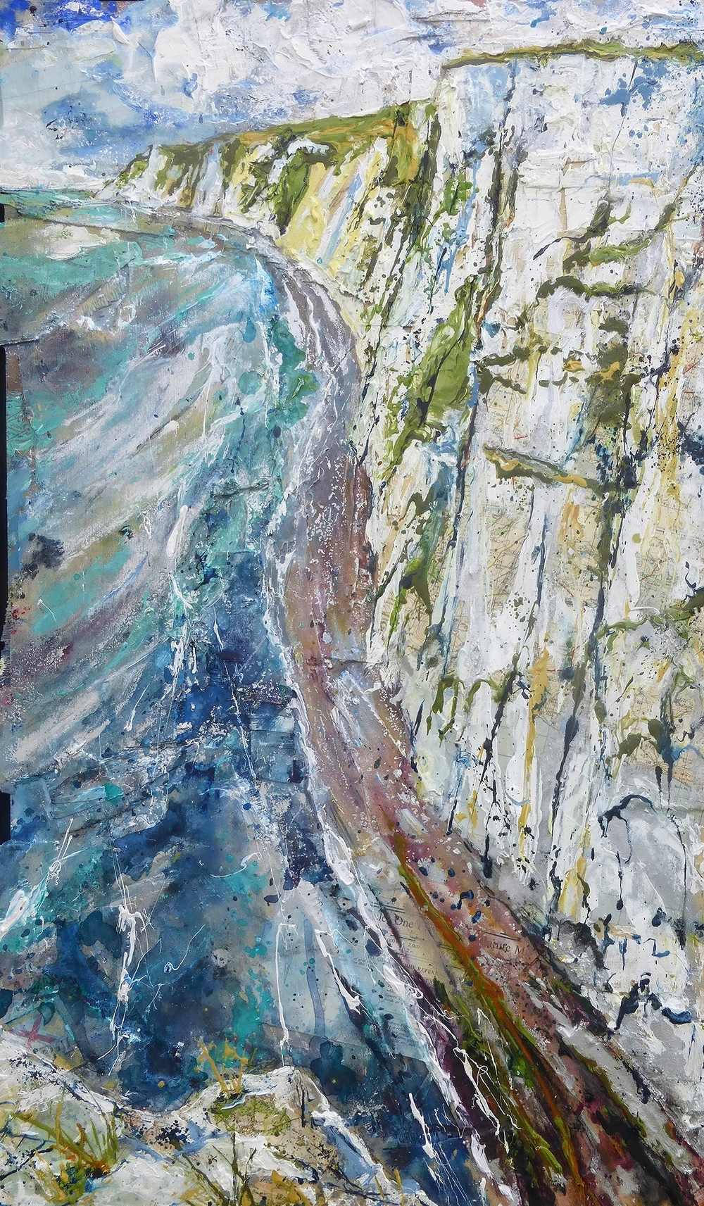 From Bat's Head to West Bolton, Purbeck Coast, Dorset. Oil, acrylic and collage on wood.