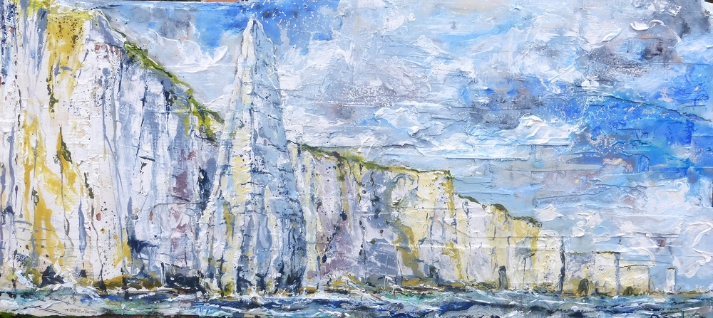 The Pinnacles to The Foreland, Purbeck Coast, Dorset 2. Oil, acrylic and collage on wood.