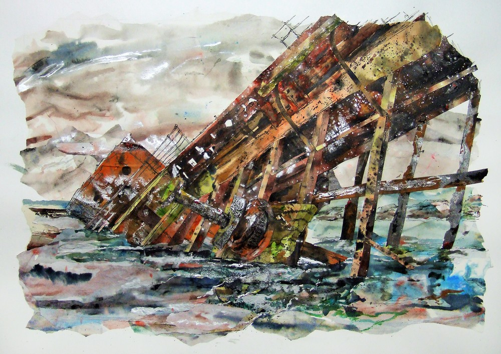 Breaking the surface 2, The Reginald, Orkney Blockship, Ink, acrylic and collage on paper