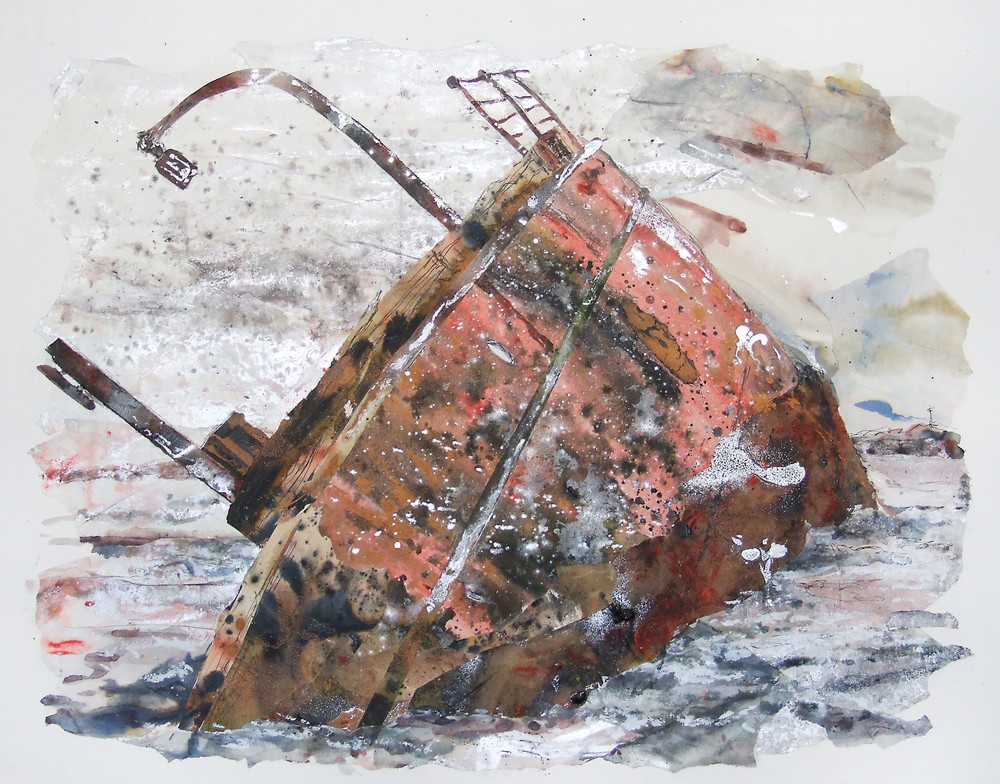 Breaking the surface 4, The Reginald, Orkney Blockship, Ink, acrylic and collage on paper