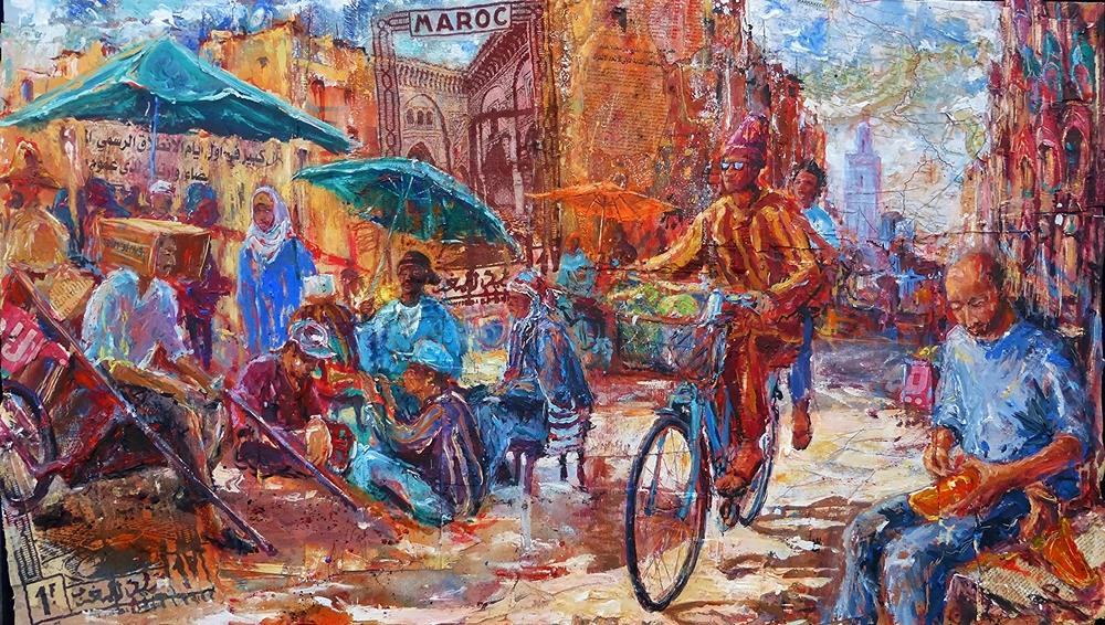 Maroc, Morocco, Acrylic, collage and photo silkscreen print on wood