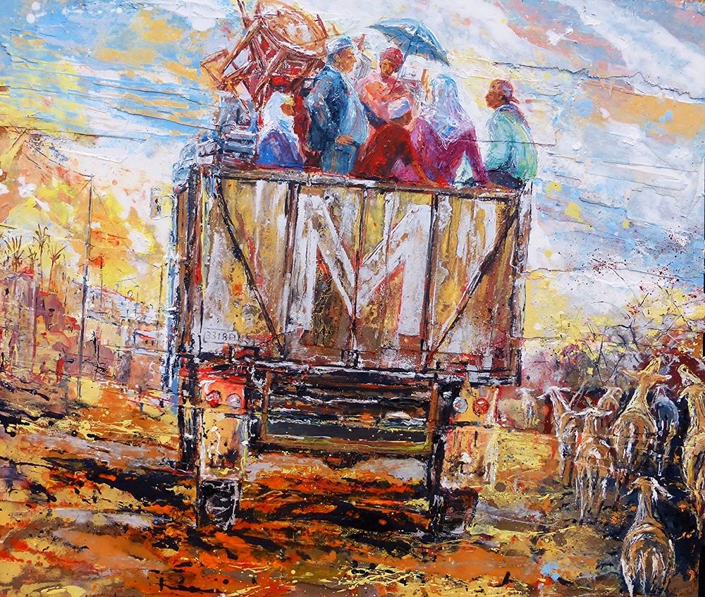 En route to Marrakech 1. Oil, acrylic on wood