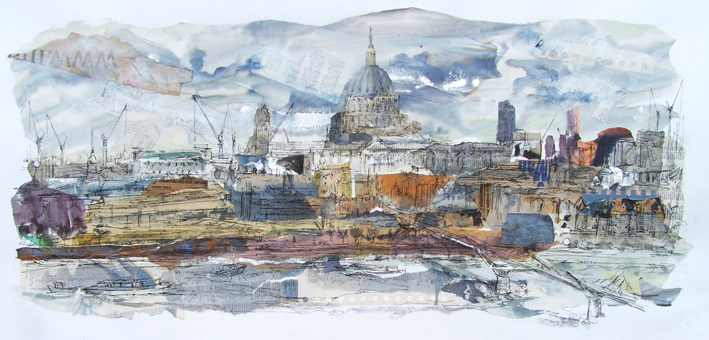 St Paul's, Thames, collage, ink and acrylic