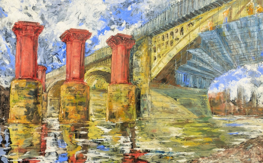 Blackfriars Bridge, Thames, London. Oil on canvas