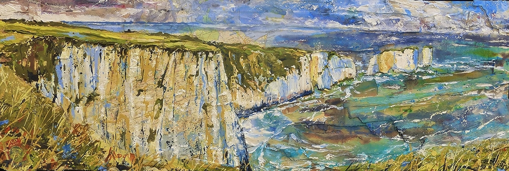 The Foreland and Old Harry Rock, Purbeck Coast, Dorset. Oil, acrylic and collage on wood.