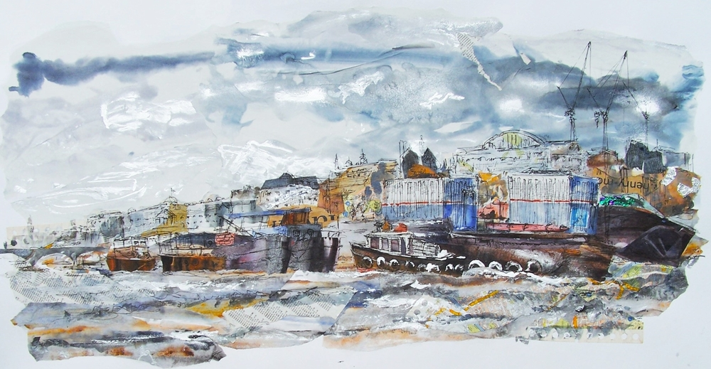 Thames Barges 1, Collage, ink and acrylic