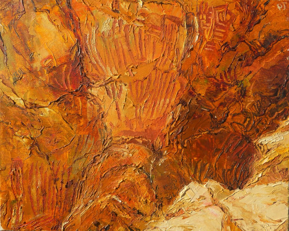 Aboriginal rock painting 2, oil on canvas