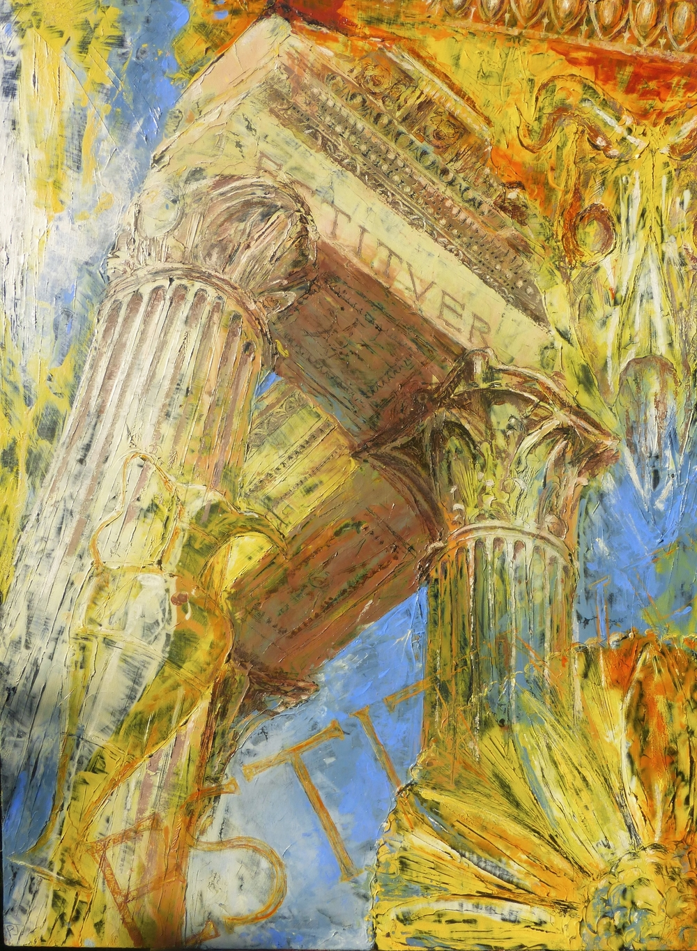 Temple of Vespasian, Forum, Rome, Oil on canvas, 120x90cm