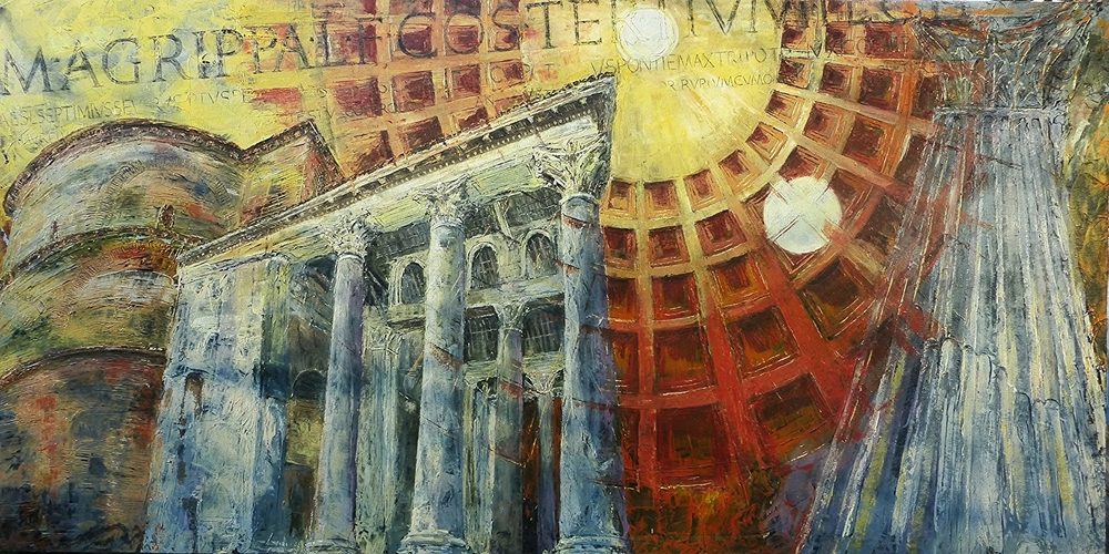 Pantheon with Oculus, Rome, Oil on canvas,